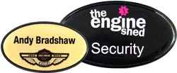 Oval name badge comes with a black prestige border for an exceptional finish.Name Badge